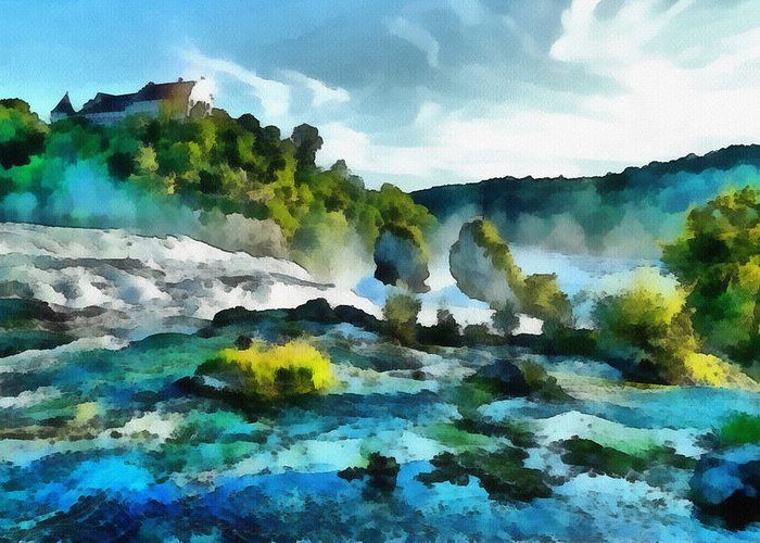 River Greeting Card featuring the painting Riverscape by Ayse Deniz