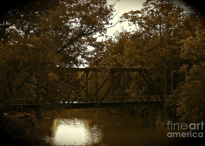 Romantic Greeting Card featuring the photograph Riveting Bridge by Customikes Fun Photography and Film Aka K Mikael Wallin