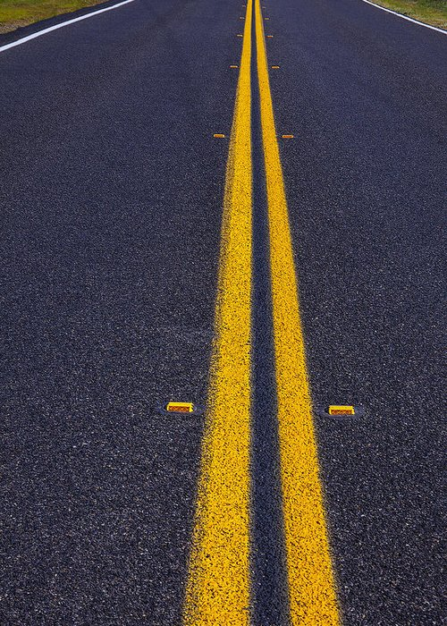Road Greeting Card featuring the photograph Road Stripe by Garry Gay