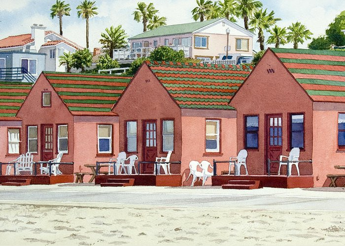 California Greeting Card featuring the painting Robert's Cottages Oceanside by Mary Helmreich