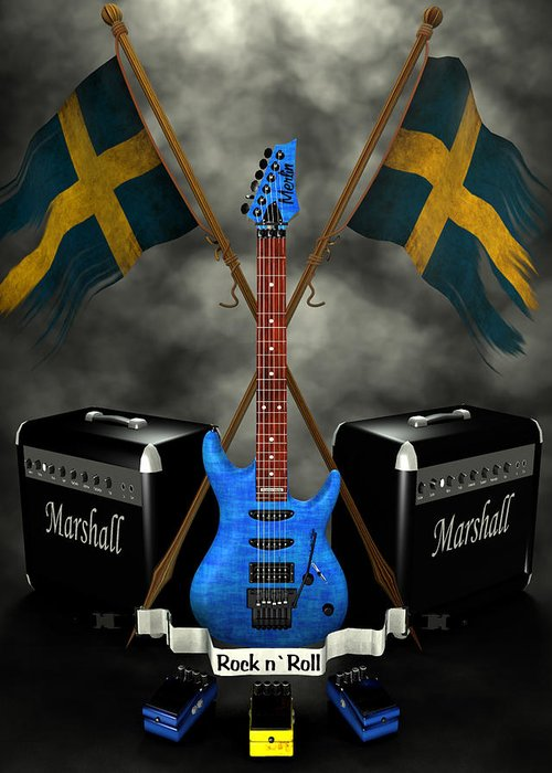 Rock N Roll Greeting Card featuring the digital art Rock N Roll Crest- Sweden by Frederico Borges
