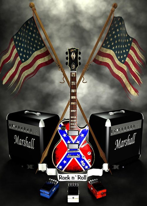 Usa Greeting Card featuring the digital art Rock N Roll Crest- Usa by Frederico Borges