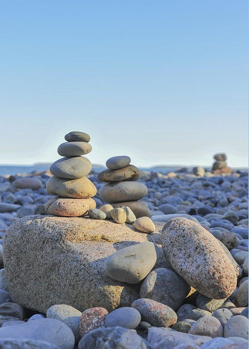 Rock Piles Zen Stones Little Hunters Beach Maine Greeting Card featuring the photograph Rock Piles Zen Stones Little Hunters Beach Maine by Terry DeLuco