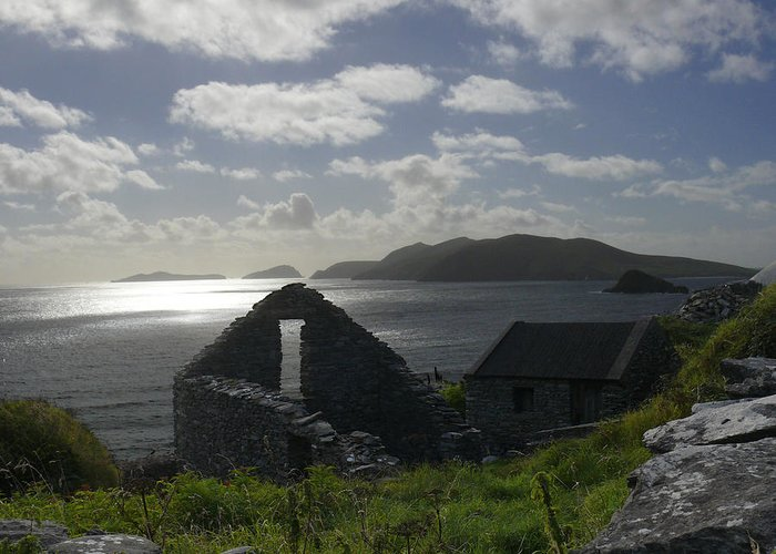 Ireland Greeting Card featuring the photograph Rock Ruin By The Ocean - Ireland by Mike McGlothlen