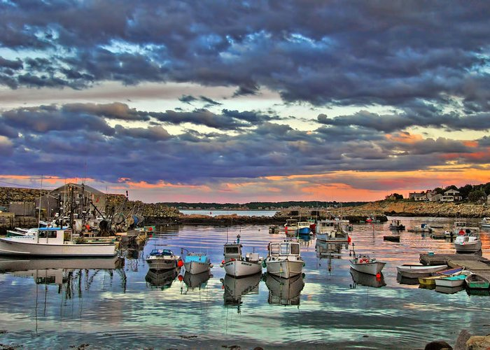 Rockport Greeting Card featuring the photograph Rockport Dusk by Joann Vitali