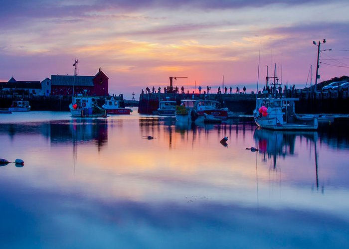 Motif Number One Rockport Lobster Shack By Jeff Folger Greeting Card featuring the photograph Rockport Harbor Sunrise Over Motif #1 by Jeff Folger