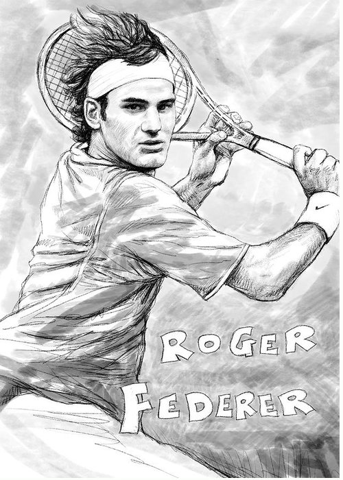 Roger Federer Art Drawing Sketch Portrait Greeting Card featuring the painting Roger Federer Art Drawing Sketch Portrait by Kim Wang