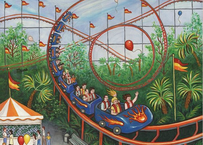 Carnival Greeting Card featuring the painting Roller Coaster by Linda Mears