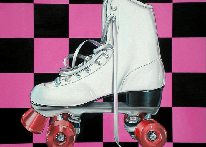 Roller Skate Greeting Card featuring the painting Roller Skate by Anthony Mezza