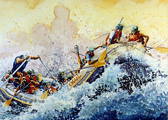 Sports Art Greeting Card featuring the painting Rollin' Down The River by Hanne Lore Koehler