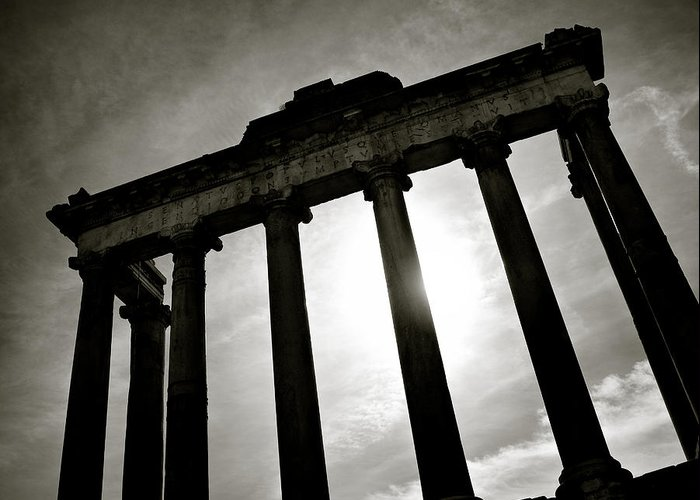 Ancient Greeting Card featuring the photograph Roman Forum by Dave Bowman