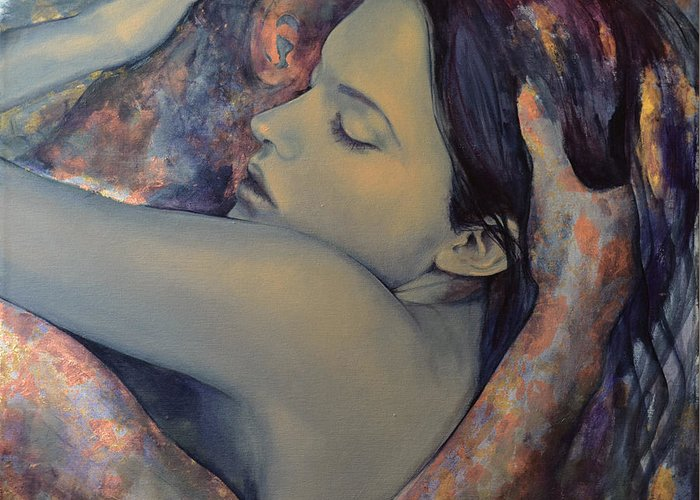 Fantasy Greeting Card featuring the painting Romance With A Chimera by Dorina Costras