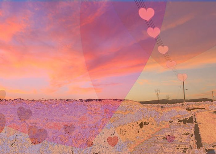 Sunset Greeting Card featuring the digital art Romantic Sunset by Augusta Stylianou