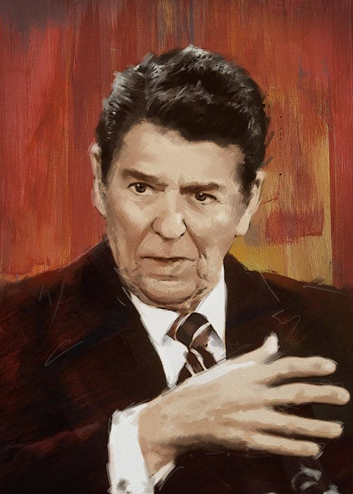 Rancho Del Cielo Greeting Card featuring the painting Ronald Reagan Portrait 2 by Corporate Art Task Force