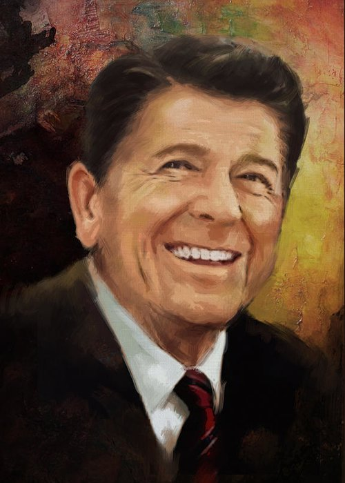 Rancho Del Cielo Greeting Card featuring the painting Ronald Reagan Portrait 8 by Corporate Art Task Force