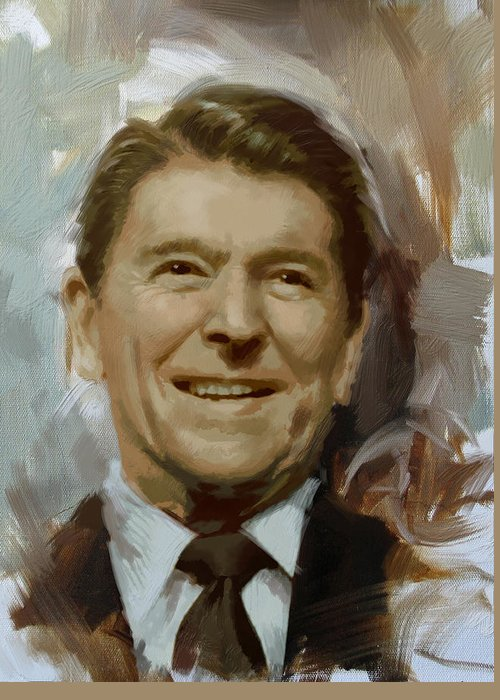 Rancho Del Cielo Greeting Card featuring the painting Ronald Reagan Portrait by Corporate Art Task Force