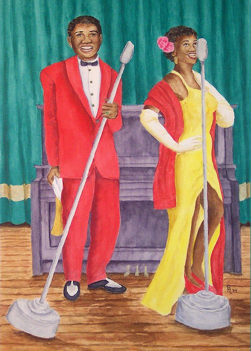 Nashville Greeting Card featuring the painting Roosevelt And Lola by Rhonda Leonard