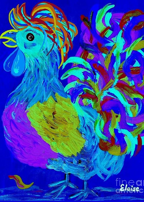 Rooster Greeting Card featuring the painting Rooster Blues by Eloise Schneider