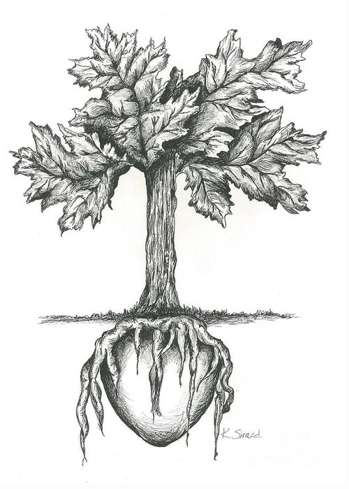 Tree Greeting Card featuring the drawing Roots Of The Heart by Karen Sirard