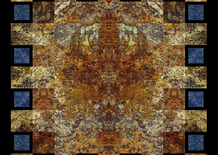 Organic Mineral Marble Tile Stone Geometric Mystical Craftsmanship Abstract Textured Detailed Symmetrical Square Natural Colors Earth-colors Mysterious Checkered Sophisticated Modern Stylish Contemporary High Tech Persian Rug Weaving Bruce Ricker   Greeting Card featuring the photograph Rorshach Yantra Nine Oh Four by Bruce Ricker