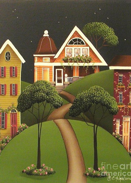 Art Greeting Card featuring the painting Rose Hill Lane by Catherine Holman