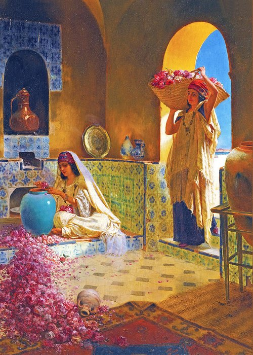 Orientalism Greeting Card featuring the photograph Rose Water by Munir Alawi