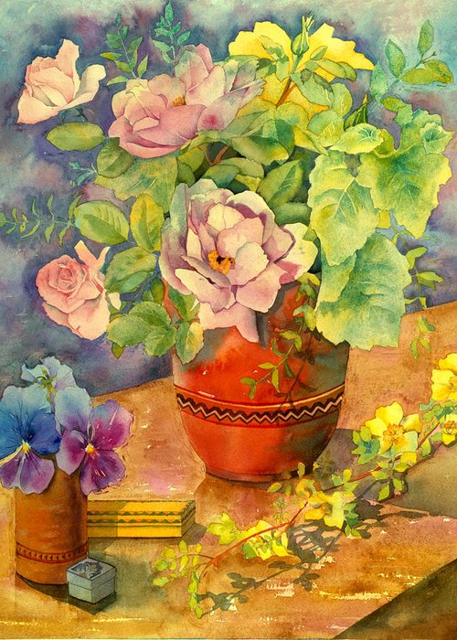 Julia Rowntree Greeting Card featuring the photograph Roses And Pansies by Julia Rowntree