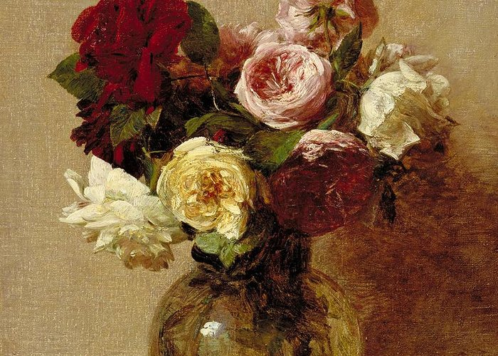 Still-life Greeting Card featuring the painting Roses by Ignace Henri Jean Fantin-Latour