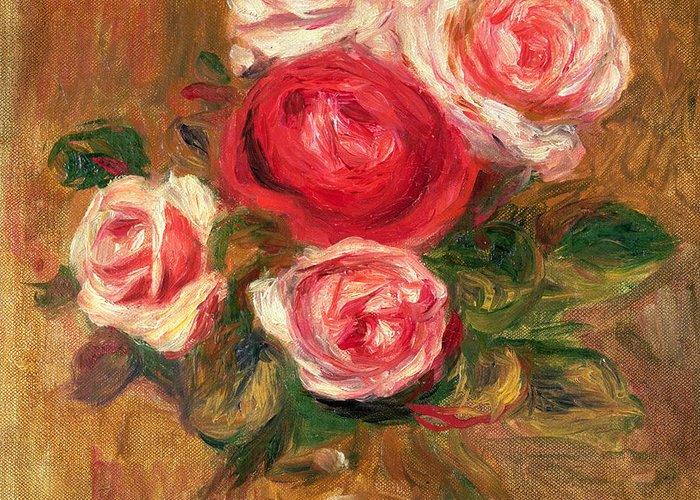 Impressionist Greeting Card featuring the painting Roses In A Pot by Pierre Auguste Renoir