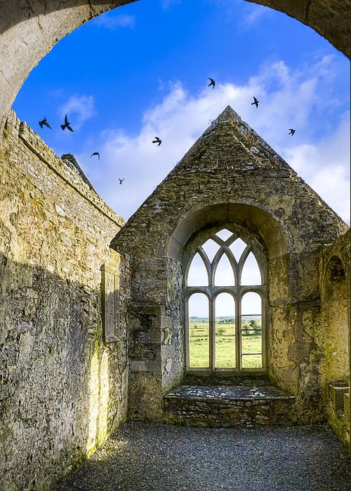 Galway Greeting Card featuring the photograph Ross Errilly Friary - Irish Monastic Ruins by Mark E Tisdale