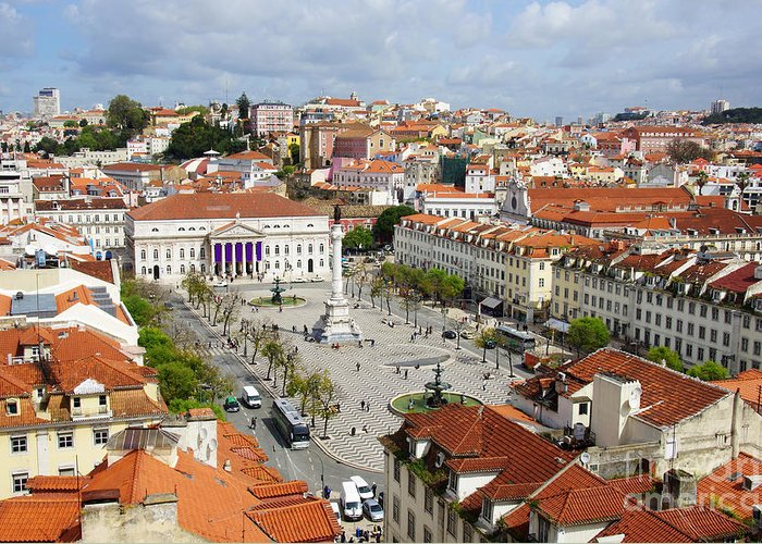 Aerial Greeting Card featuring the photograph Rossio Square by Carlos Caetano