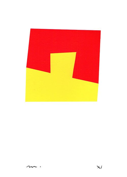 Abstract Greeting Card featuring the mixed media Rosso E Giallo by Moran de Musee