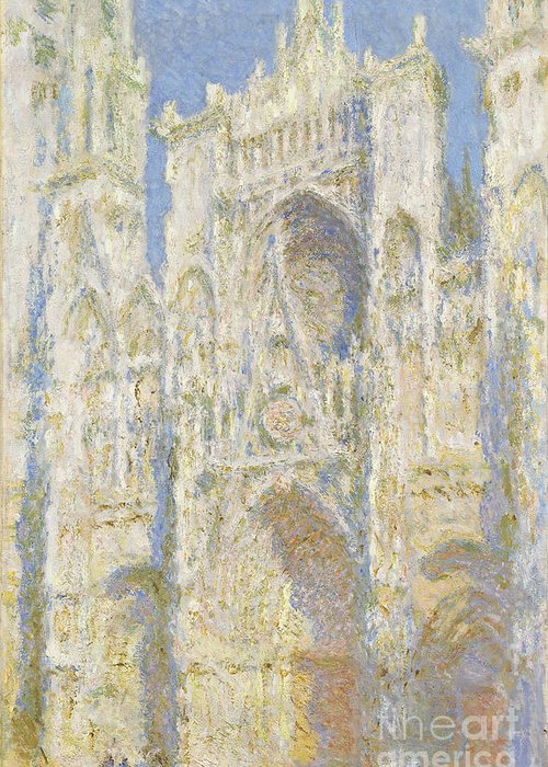 Impressionist; Church; Gothic; Sun; Portal; Porch; Portico; Ouest; Soleil; Ensoleille Greeting Card featuring the painting Rouen Cathedral West Facade by Claude Monet