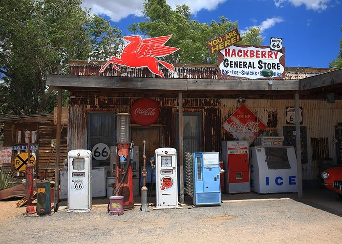 66 Greeting Card featuring the photograph Route 66 - Hackberry General Store by Frank Romeo