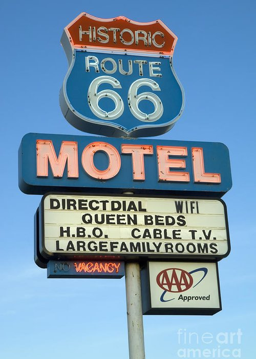 Flames Greeting Card featuring the photograph Route 66 Motel Sign 3 by Bob Christopher