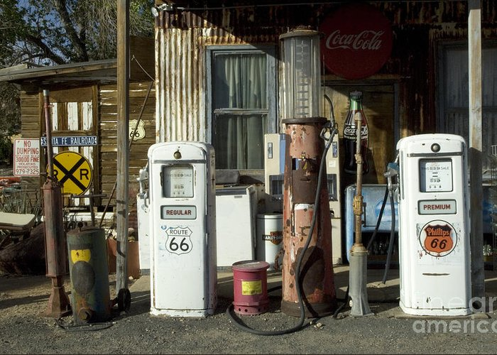 Route 66 Greeting Card featuring the photograph Route 66 Pumps by Bob Christopher