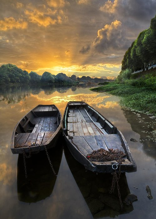 Boats Greeting Card featuring the photograph Rowboats On The River by Debra and Dave Vanderlaan