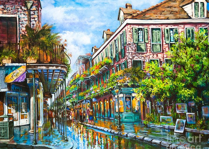 New Orleans Art Greeting Card featuring the painting Royal At Pere Antoine Alley by Dianne Parks