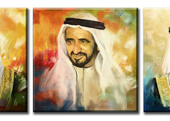 Sheikh Rashid Bin Saeed Al Maktoum Greeting Card featuring the painting Royal Collage by Corporate Art Task Force