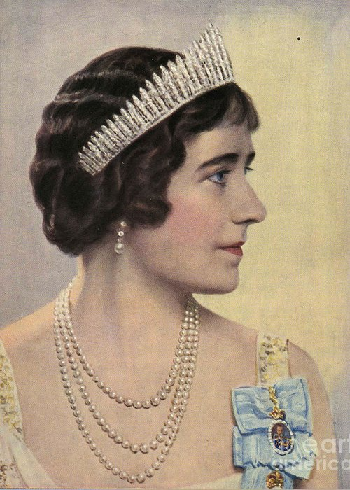 1930�s Greeting Card featuring the drawing Royalty 1939 1930s Uk Queen Elizabeth by The Advertising Archives