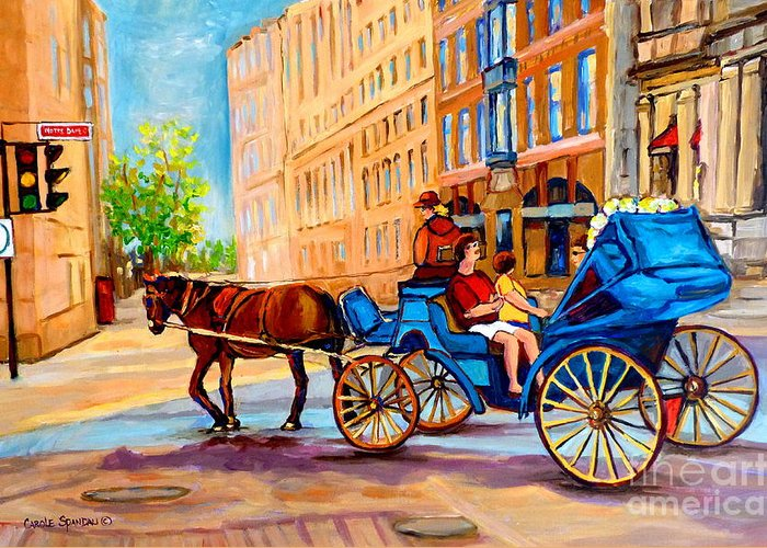 Rue Notre Dame Greeting Card featuring the painting Rue Notre Dame Caleche Ride by Carole Spandau
