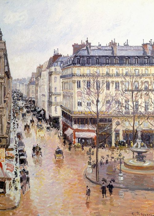 Art Greeting Card featuring the painting Rue Saint Honore Afternoon Rain Effect by Camille Pissarro