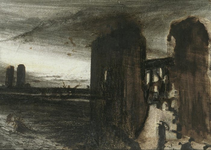Victor Hugo Greeting Card featuring the painting Ruins In A Landscape by Victor Hugo
