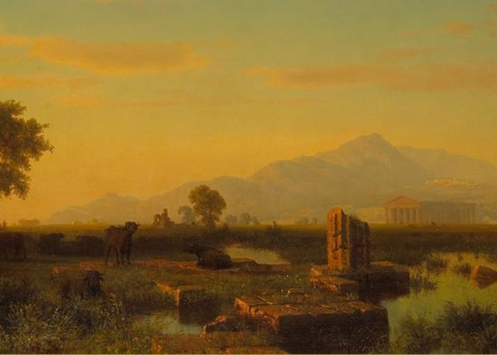 Paestum; Ruin; Ruins; Remains; Classical; Roman; Greco-roman; Greek; Architecture; Temple; Columns; Landscape; View; Italy; Italian; Campania; Sunset; Sundown; Dusk; Cow; Cows; Cattle; Male; Horse; Horseback; Riding; Mountains; Mountainous; Setting Sun; Evening Greeting Card featuring the painting Ruins Of Paestum by Albert Bierstadt