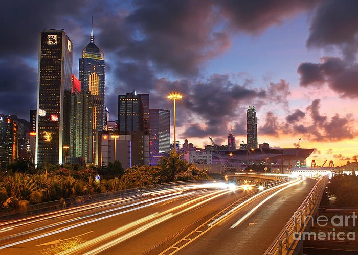 Hong Kong Greeting Card featuring the photograph Rush Hour During Sunset In Hong Kong by Lars Ruecker