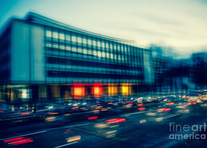 Architecture Greeting Card featuring the photograph Rush Hour - Vintage by Hannes Cmarits
