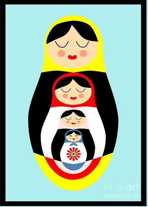 Matryoshka Greeting Card featuring the drawing Russian Doll Matryoshka by Patruschka Hetterschij