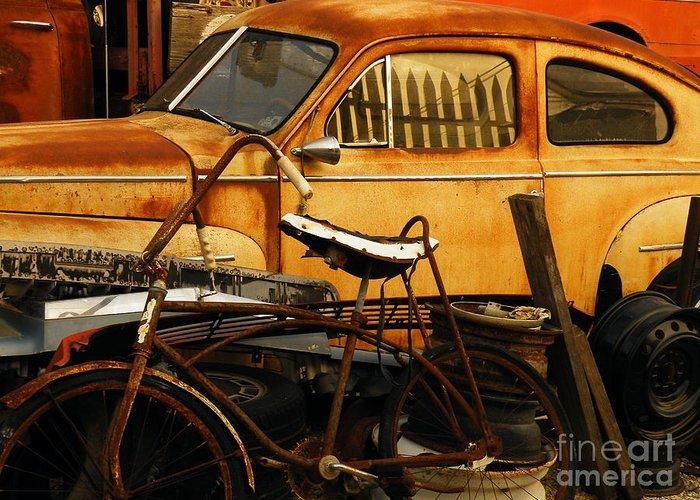 Junkyard Greeting Card featuring the photograph Rust Race by Joe Jake Pratt