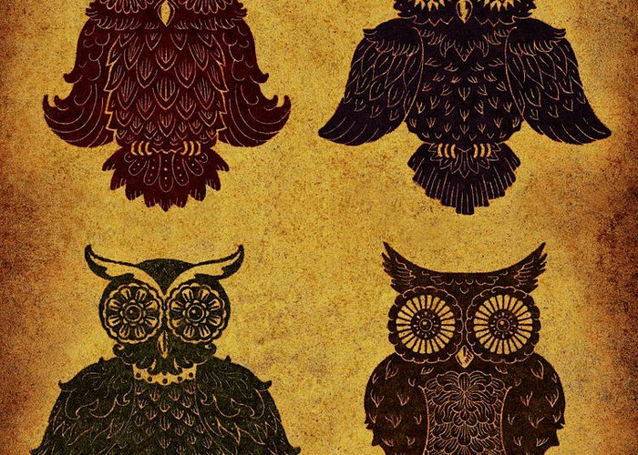 Aged Greeting Card featuring the digital art Rustic Aged 4 Owls by Kyle Wood