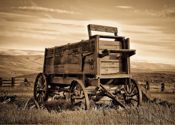 Covered Wagon Greeting Card featuring the photograph Rustic Covered Wagon by Athena Mckinzie
